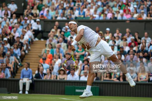 July 04: Rafael Nadal of Spain in action against Nick Kyrgios of Australia on Centre Court during the Wimbledon Lawn Tennis Championships at the All...