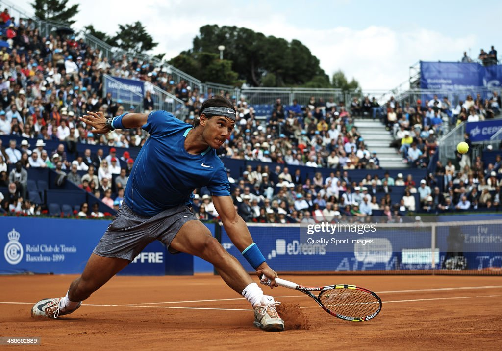 Rafael Nadal of Spain in action against Nicolas Almagro of Spain during day five of the ATP Barcelona Open Banc Sabadell at the Real Club de Tenis Barcelona on April 25, 2014 in Barcelona, Spain.