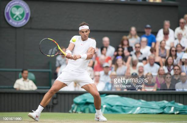 Rafael Nadal of Spain in action against Novak Djokovic of Serbia in the Men's Singles Semifinal on Center Court during the Wimbledon Lawn Tennis...