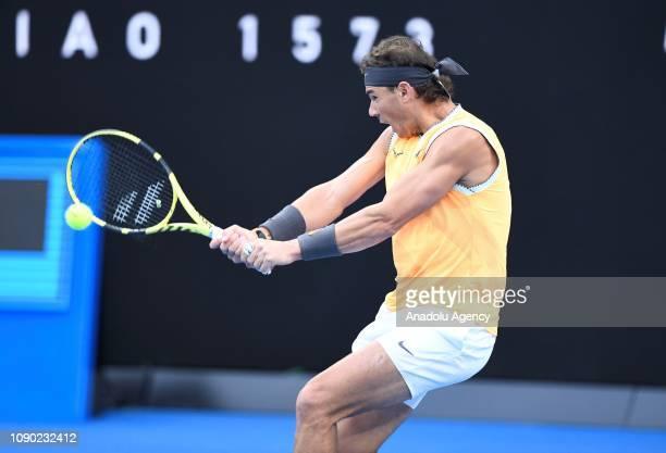 Rafael Nadal of Spain in action against Novak Djokovic of Serbia in the Australian Open 2019 Men's Singles final match in Melbourne Australia on...