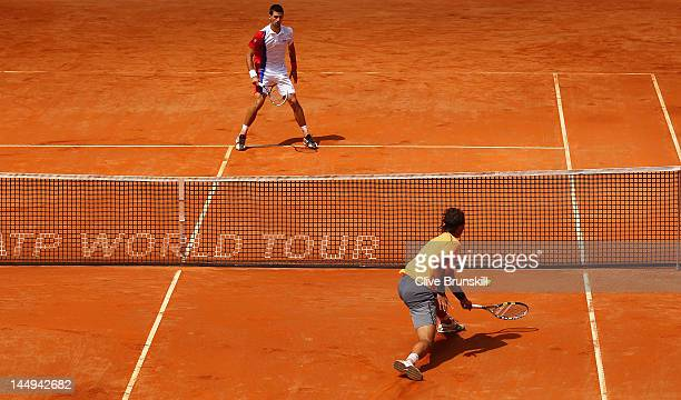 Rafael Nadal of Spain in action against Novak Djokovic of Serbia in their final match during day ten of the Internazionali BNL d'Italia 2012 at the...