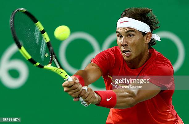 Rafael Nadal of Spain in action against Robin Haase and JeanJulien Rojer of Holland in their doubles match on Day 2 of the Rio 2016 Olympic Games at...