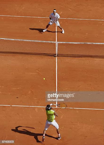 Rafael Nadal of Spain in action against Roger Federer of Switzerland in the final of the Rolex ATP Tennis Masters Monte Carlo at the The Monte Carlo...