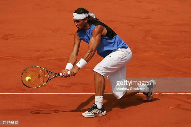 Rafael Nadal of Spain in action against Roger Federer of Switzerland during the Mens Singles Final on day fifteen of the French Open at Roland Garros...