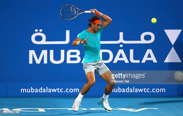Rafael Nadal of Spain in action against Stanislas Wawrinka of Switzerland during the playoff match for third place of the Mubadala World Tennis...