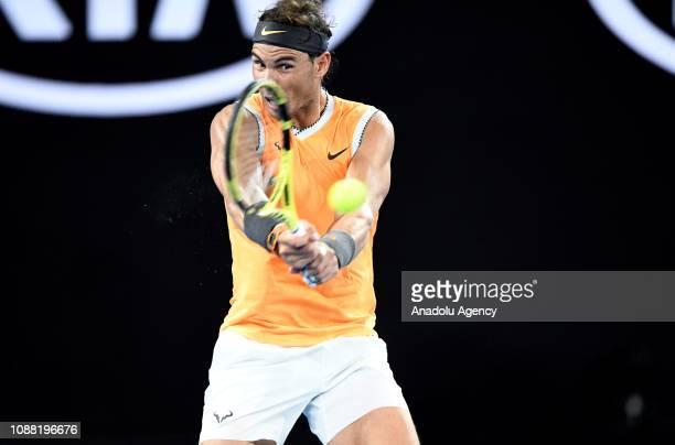 Rafael Nadal of Spain in action against Stefanos Tsitsipas of Greece during Australian Open 2019 Men's Singles match in Melbourne Australia on...