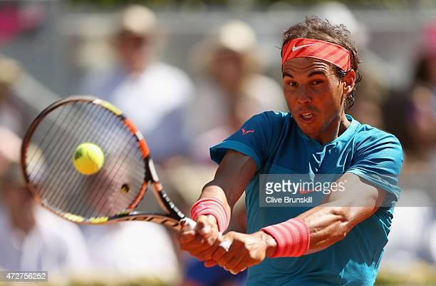 Rafael Nadal of Spain in action against Tomas Berdych of the Czech Republic in their semi final match during day eight of the Mutua Madrid Open...