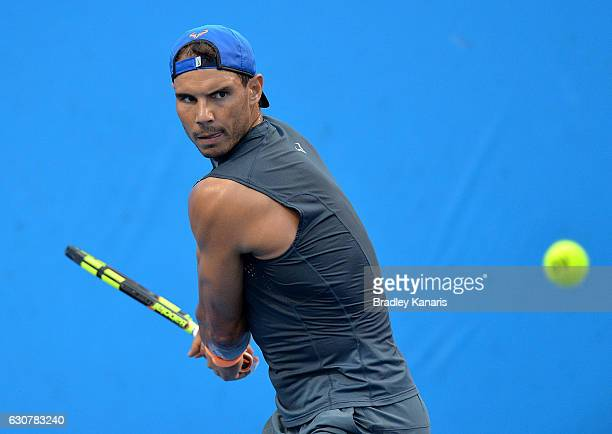 Rafael Nadal of Spain in action as he trains on day two of the 2017 Brisbane International at Pat Rafter Arena on January 2 2017 in Brisbane Australia