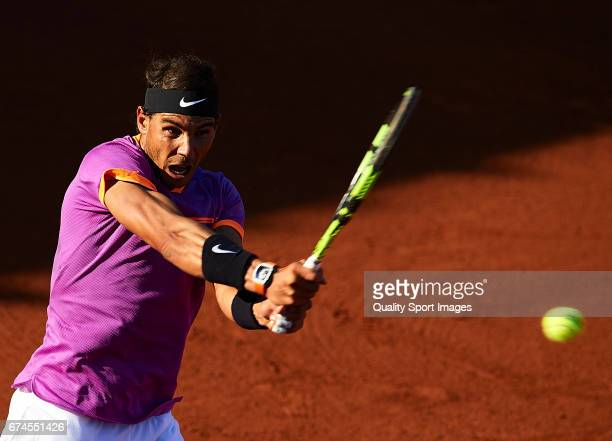 Rafael Nadal of Spain in action at his match against Hyeon Chung of South Korea during the Day 5 of the Barcelona Open Banc Sabadell at the Real Club...