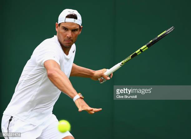 Rafael Nadal of Spain in action during a practice session ahead of the Wimbledon Lawn Tennis Championships at the All England Lawn Tennis and Croquet...