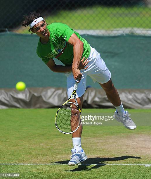 Rafael Nadal of Spain in action during a practice session during Middle Sunday of the Wimbledon Lawn Tennis Championships at the All England Lawn...
