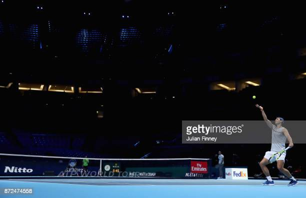Rafael Nadal of Spain in action during a training session prior to the Nitto ATP World Tour Finals at O2 Arena on November 10 2017 in London England