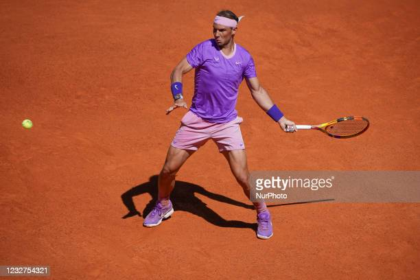 Rafael Nadal of Spain in action during during their Quarter Final match against Alexander Zverev of Germany during Day Nine of the Mutua Madrid Open...