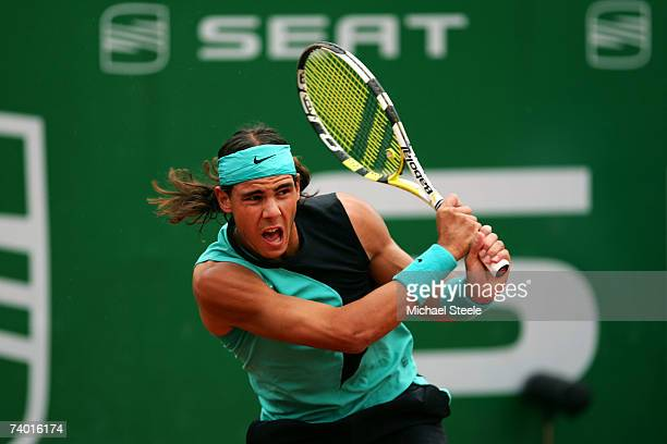 Rafael Nadal of Spain in action during his 7561 victory in the Semi Final match against David Ferrer of Spain on Day Six of the Open Seat 2007 at the...