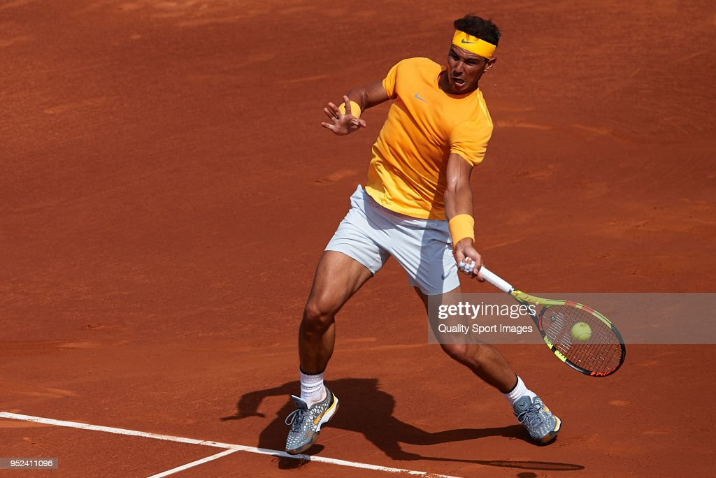 Rafael Nadal of Spain in action during his match against David Goffin of Belgium during day sixth of the ATP Barcelona Open Banc Sabadell at the Real Club de Tenis Barcelona on April 28, 2018 in Barcelona, Spain.
