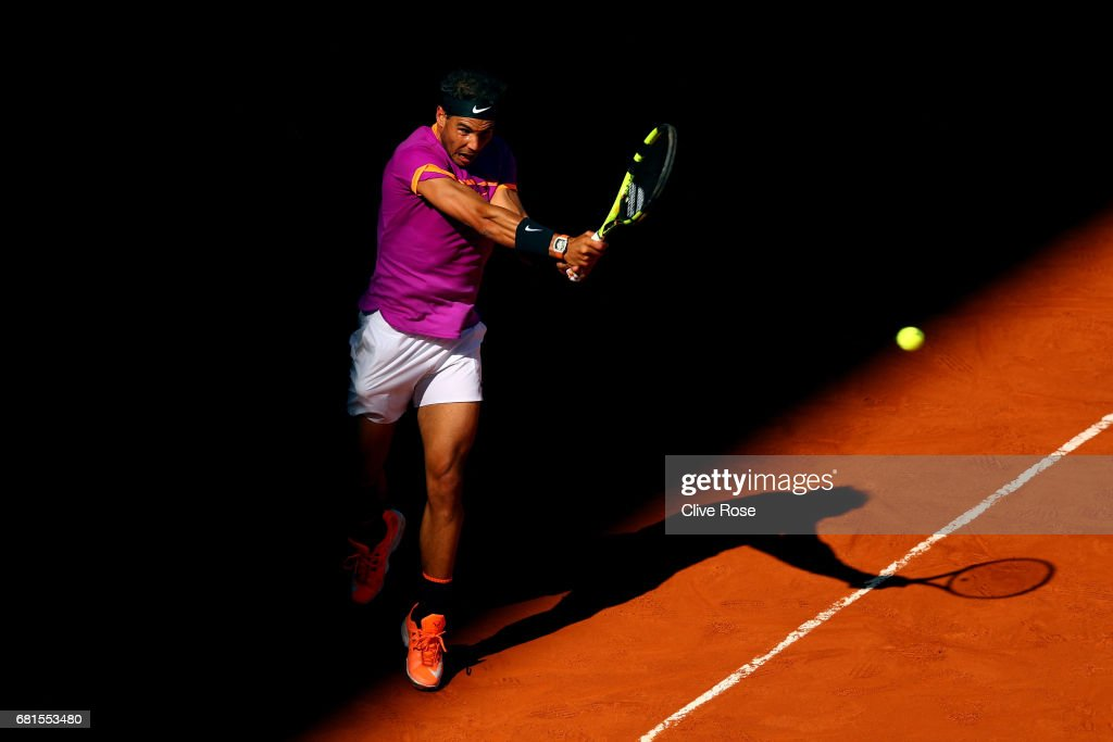 Rafael Nadal of Spain in action during his match against Fabio Fognini of Italy on day five of the Mutua Madrid Open tennis at La Caja Magica on May 10, 2017 in Madrid, Spain.