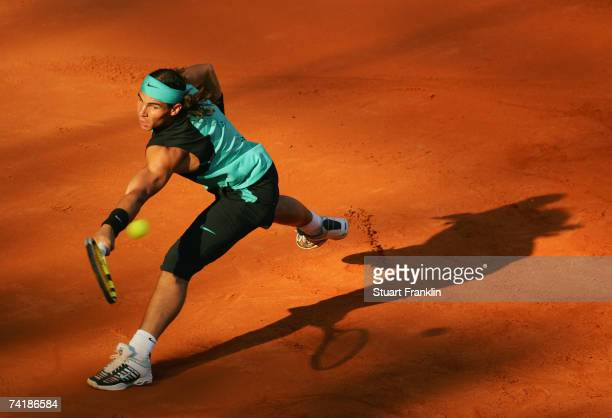 Rafael Nadal of Spain in action during his match against Fernando Gonzales of Chile during day five of the Tennis Masters Series Hamburg at...
