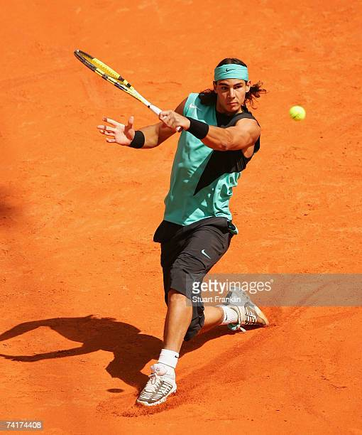 Rafael Nadal of Spain in action during his match against Ogor Andreev of Russia during day four of the Tennis Masters Series Hamburg at Rothenbaum...