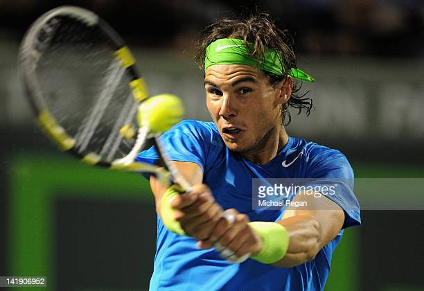 Rafael Nadal of Spain in action during his match against Radek Stepanek of the Czech Republic during day 7 of the Sony Ericsson Open at Crandon Park...