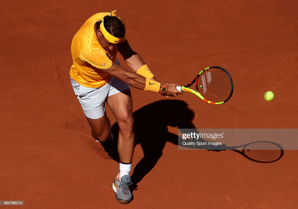 Rafael Nadal of Spain in action during his match against Stefanos Tsitsipas of Greece during day seventh of the ATP Barcelona Open Banc Sabadell at the Real Club de Tenis Barcelona on April 29, 2018 in Barcelona, Spain.