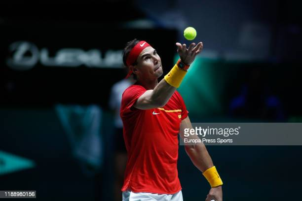 Rafael Nadal of Spain in action during his match played against Borna Gojo of Croatia during the Day 3 of the 2019 Davis Cup at La Caja Magica on...