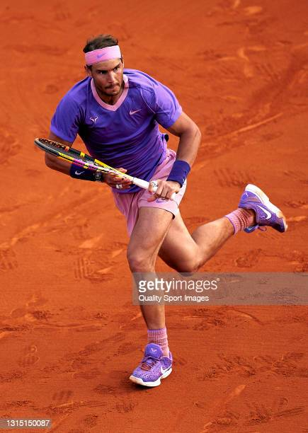 Rafael Nadal of Spain in action during his Men's Singles final match against Stefanos Tsitsipas of Greece on day seven of the Barcelona Open Banc...