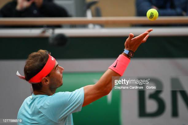 Rafael Nadal of Spain in action during his Men's Singles second round match against Mackenzie McDonald of the United States on day four of the 2020...