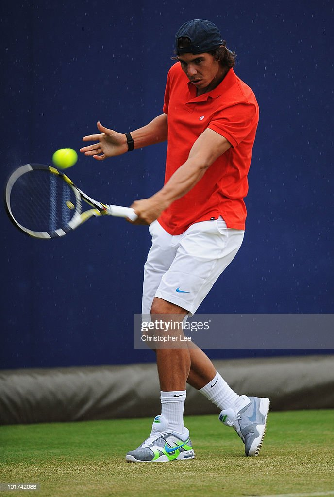 Rafael Nadal of Spain in action during his practice session during Day 1 of the the AEGON Championships at Queen's Club on June 7, 2010 in London, England.