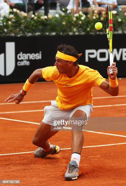Rafael Nadal of Spain in action during his Quarter Final match against Fabio Fognini of Italy during day six of The Internazionali BNL d'Italia 2018...