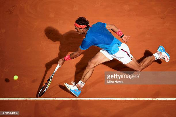 Rafael Nadal of Spain in action during his Quarter Final match with Stan Wawrinka of Switzerland on Day Six of The Internazionali BNL d'Italia 2015...