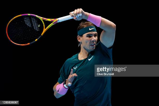 Rafael Nadal of Spain in action during his round robin match against Andrey Rublev of Russia during their first round robin match on Day one of the...