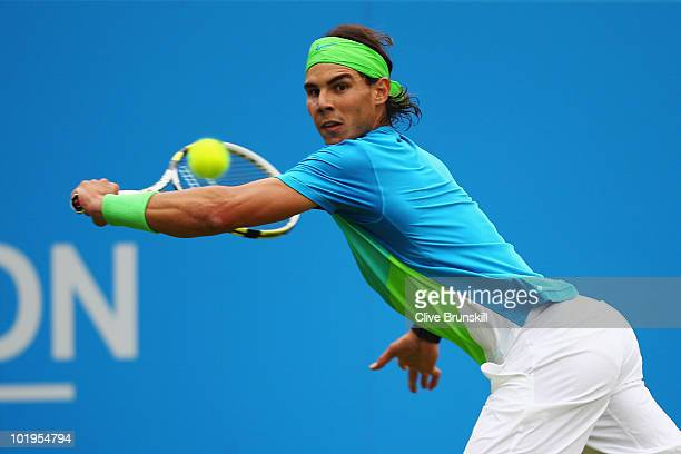 Rafael Nadal of Spain in action during his third round match against Denis Istomin of Uzbekistan on Day 4 of the the AEGON Championships at Queen's...