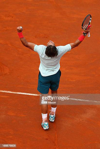Rafael Nadal of Spain in action during his third round match against Ernests Gulbis of Latvia on day five of the Internazionali BNL d'Italia 2013 at...