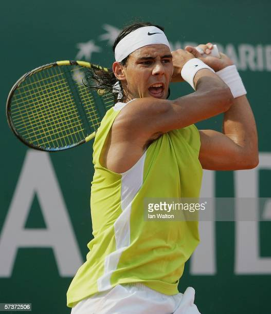 Rafael Nadal of Spain in action during his third round match against Kristof Vliegen of Belgium during the Rolex ATP Tennis Masters Monte Carlo at...