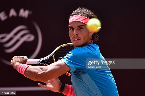 Rafael Nadal of Spain in action during his Third Round victory over John Isner of USA on Day Five of The Internazionali BNL d'Italia 2015 at the Foro...