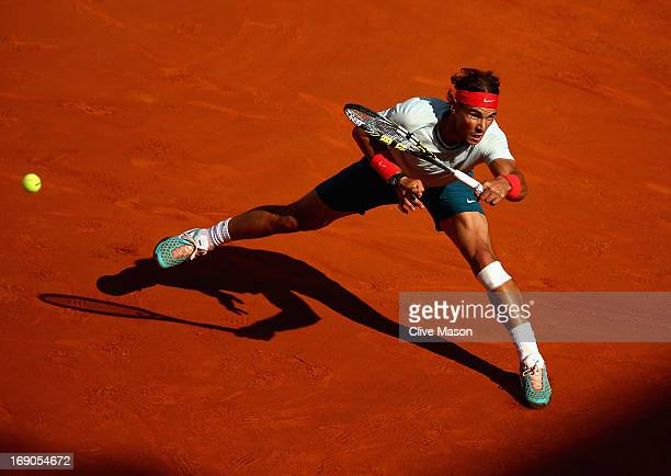 Rafael Nadal of Spain in action during the mens final against Roger Federer of Switzerland on day eight of the Internazionali BNL d'Italia 2013 at...