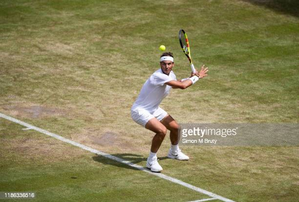 Rafael Nadal of Spain in action during the Men's Fourth Round against Joao Sousa of Portugal at The Wimbledon Lawn Tennis Championship at the All...