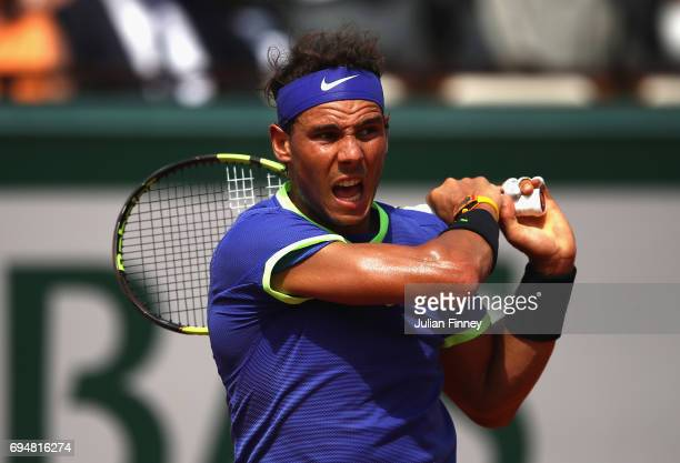 Rafael Nadal of Spain in action during the mens singles final match against Stan Wawrinka of Switzerland on day fifteen of the 2017 French Open at...