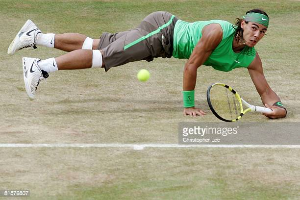 Rafael Nadal of Spain in action during the Men's Singles Final match against Novak Djokovic of Serbia on Day 7 of the Artois Championships at Queen's...
