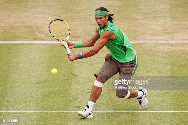 Rafael Nadal of Spain in action during the Men's Singles Quarter Final match against Ivo Karlovic of Croatia on Day 5 of the Artois Championships at...