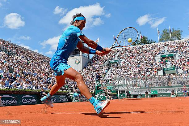 Rafael Nadal of Spain in action during the men's singles third round game against Andrey Kuznetsov of Russia at Roland Garros on May 30, 2015 in...
