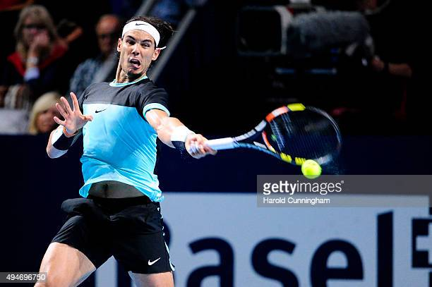 Rafael Nadal of Spain in action during the second day of the Swiss Indoors ATP 500 tennis tournament against Grigor Dimitrov of Bulgaria at St...