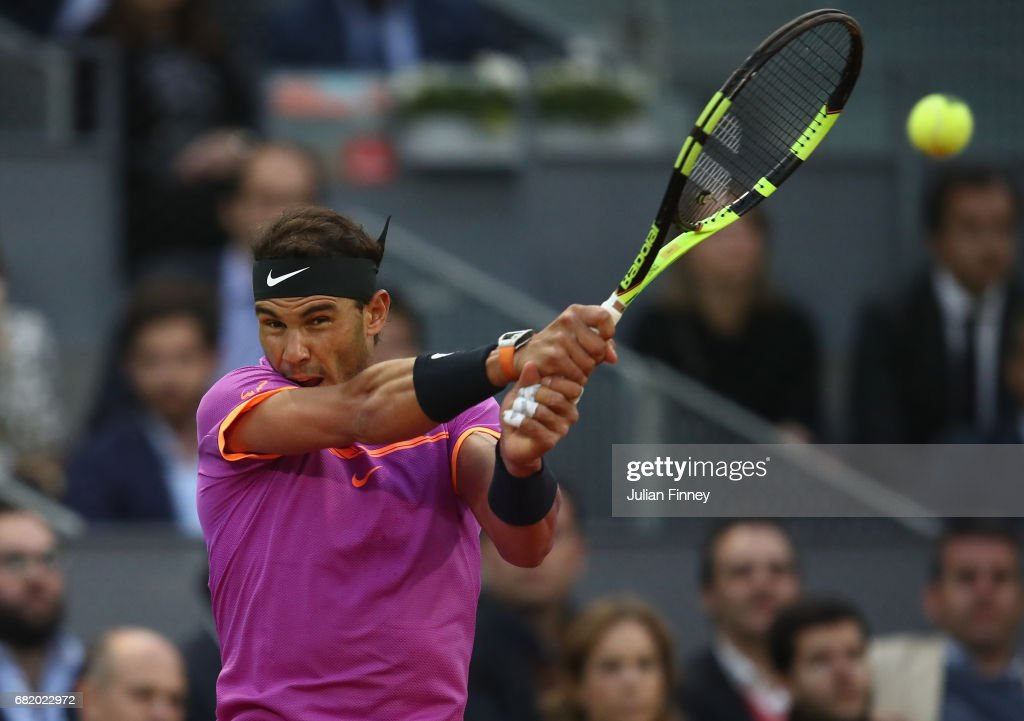 Rafael Nadal of Spain in action in his match against Nick Kyrgios of Australia during day six of the Mutua Madrid Open tennis at La Caja Magica on May 11, 2017 in Madrid, Spain.