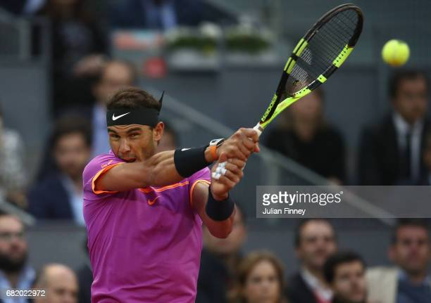 Rafael Nadal of Spain in action in his match against Nick Kyrgios of Australia during day six of the Mutua Madrid Open tennis at La Caja Magica on...