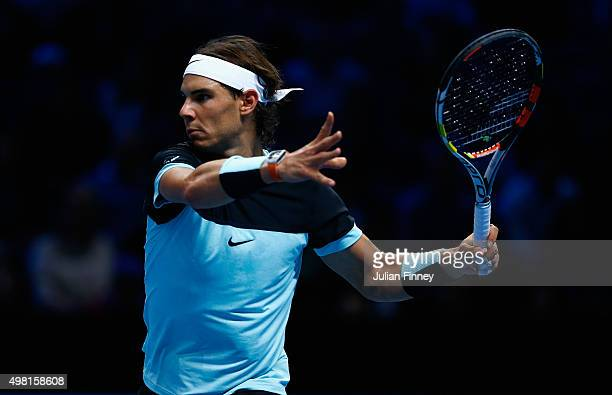 Rafael Nadal of Spain in action in his match against Novak Djokovic of Serbia in the semi final during the Barclays ATP World Tour Finals on Day...