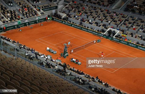 Rafael Nadal of Spain in action in his Men's Singles Final against Novak Djokovic of Serbia on day fifteen of the 2020 French Open at Roland Garros...
