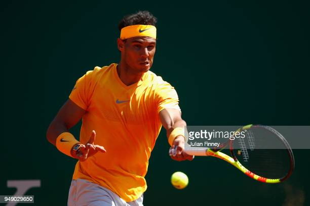 Rafael Nadal of Spain in action in his singles match against Dominic Thiem of Austria during day six of ATP Masters Series Monte Carlo Rolex Masters...
