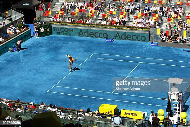 Rafael Nadal of Spain in action on the blue courts of Madrid
