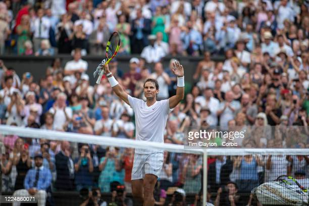 July 04: Rafael Nadal of Spain in celebrates his victory against Nick Kyrgios of Australia on Centre Court during the Wimbledon Lawn Tennis...