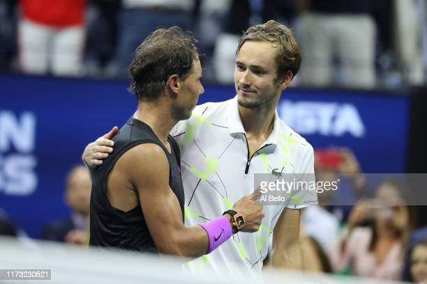 Rafael Nadal of Spain in congratulated by Daniil Medvedev of Russia after winning his Men's Singles final match on day fourteen of the 2019 US Open...